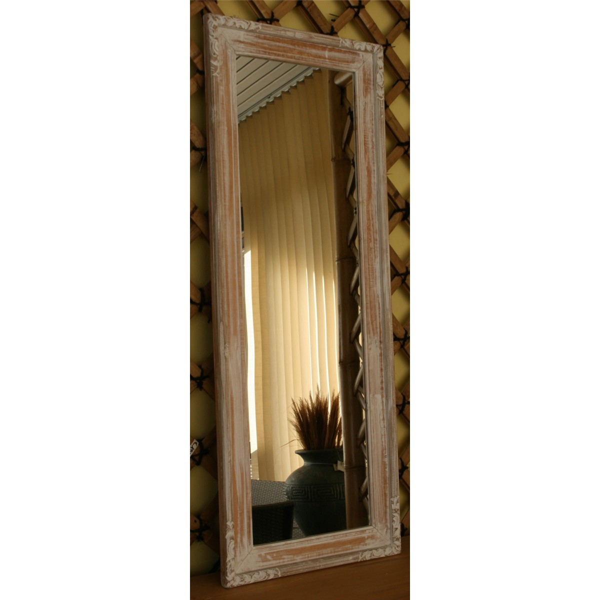 Specchio elisa legno decapato bianco - Specchio in legno ...