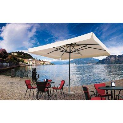 Ombrellone Napoli Standard 3 x 4 tessuto Ecru con pendente, base in cemento e graniglia con maniglie e tubo da mm 55