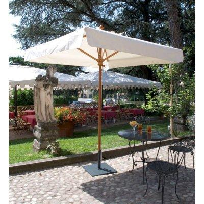 ombrellone Palladio Standard, tessuto Ecru con volant, base in acciaio colore antracite