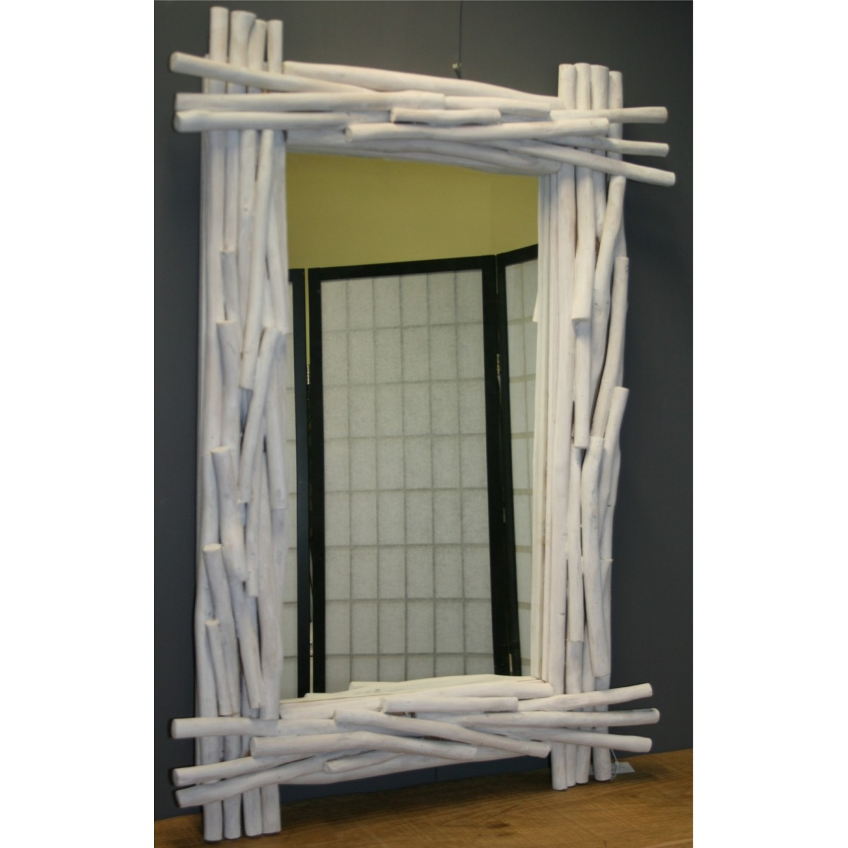 Specchio rami teak for Cornici bianche