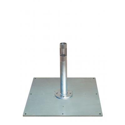esempio di contropiastra in acciaio zincato con base per ombrellone serie Astro.