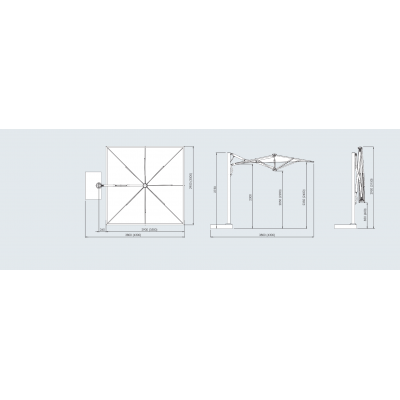 misure di ingombro ombrellone Astro Titanium 3,0 x 3,0 e 3,5 x 3,5 (indicate tra parentesi)