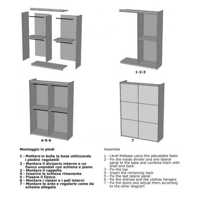 schema di assemblaggio armadio Alum 2 ante scorrevoli