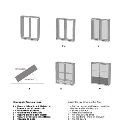 armadio Diamante con 2 ante scorrevoli schema di assemblaggio
