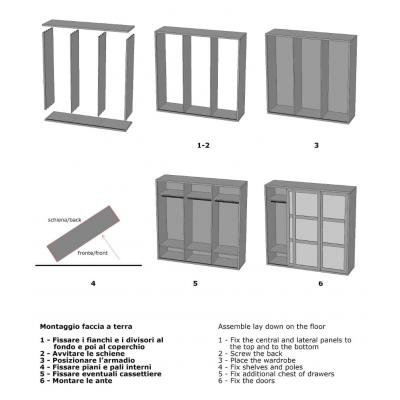 armadio Diamante con 3 ante scorrevoli schema di assemblaggio