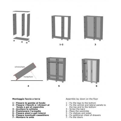 armadio Essential 3 ante battenti schema di montaggio