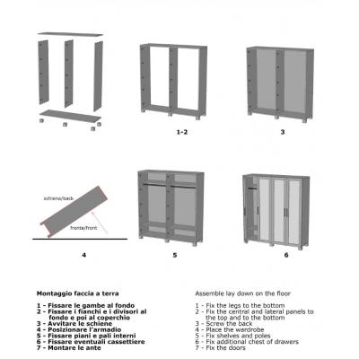 armadio Essential 4 ante battenti schema di montaggio