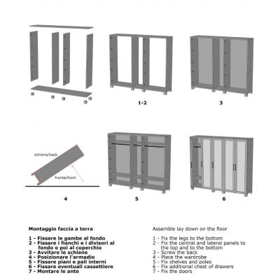 armadio Essential 5 ante battenti schema di montaggio