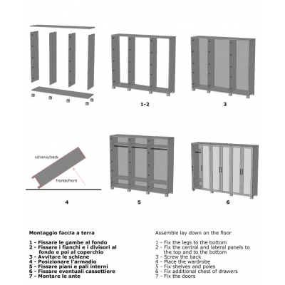 armadio Essential 6 ante battenti schema di montaggio