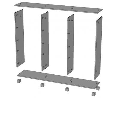 armadio Essential 6 ante battenti - numerazione elementi