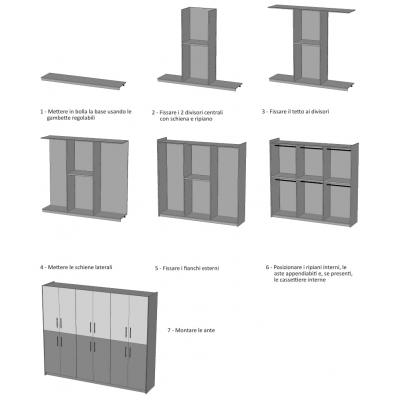 armadio Alum 6 + 6 ante battenti - schema di montaggio