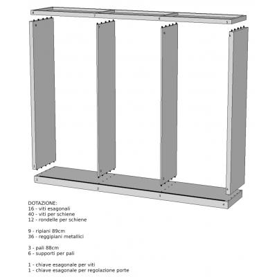 armadio Alum 3 ante scorrevoli - numerazione elementi
