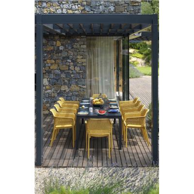 tavolo Rio Alu 210 extensible antracite con sedie net senape