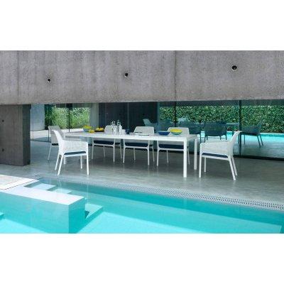 tavolo Rio 210 bianco con poltrone Net Relax e cuscini Net Relax