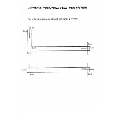 schema posizione fori per fissaggio al muro