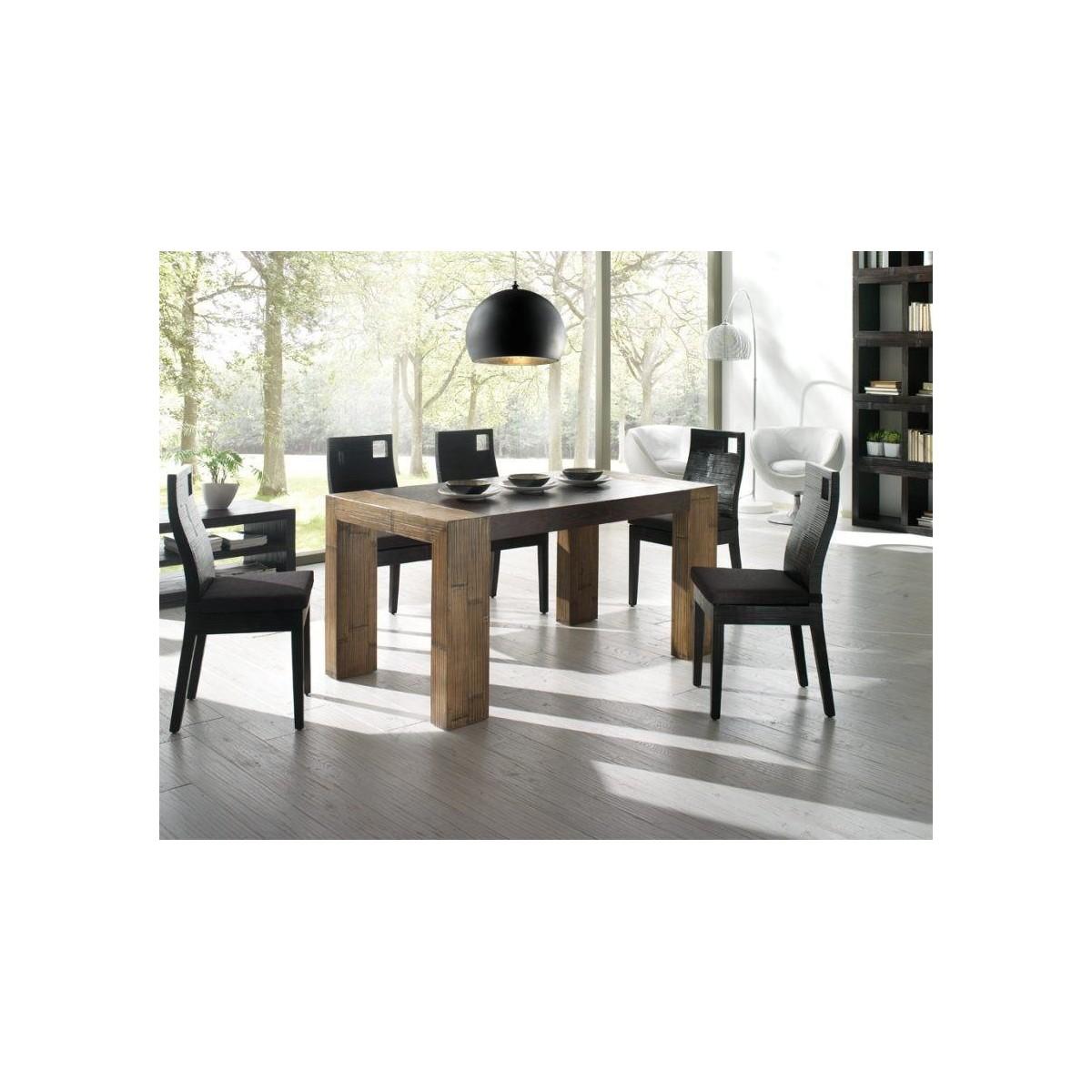tavolo Stone miele antico con piano black, sedia Hotel