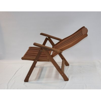 sedia reclinabile in legno di meranti - posizione prima