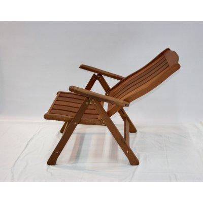 sedia reclinabile in legno di meranti - posizione seconda