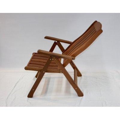 sedia reclinabile in legno di meranti - posizione terza