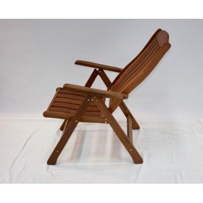 sedia reclinabile in legno di meranti - posizione quarta