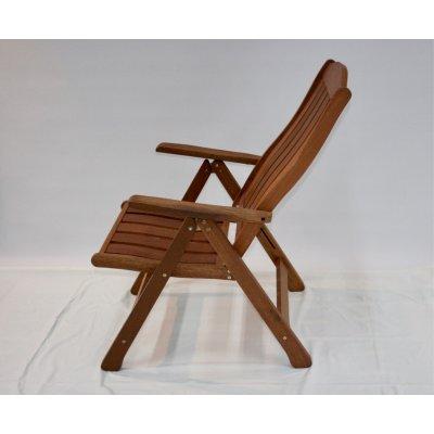 sedia reclinabile in legno di meranti - posizione quinta