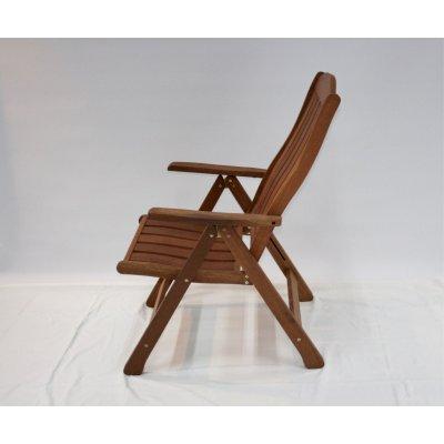 sedia reclinabile in legno di meranti - posizione sesta