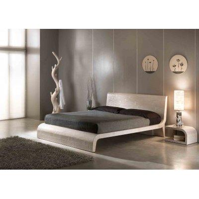 letto Wave colore decapato bianco, comodini Kristal colore decapato bianco