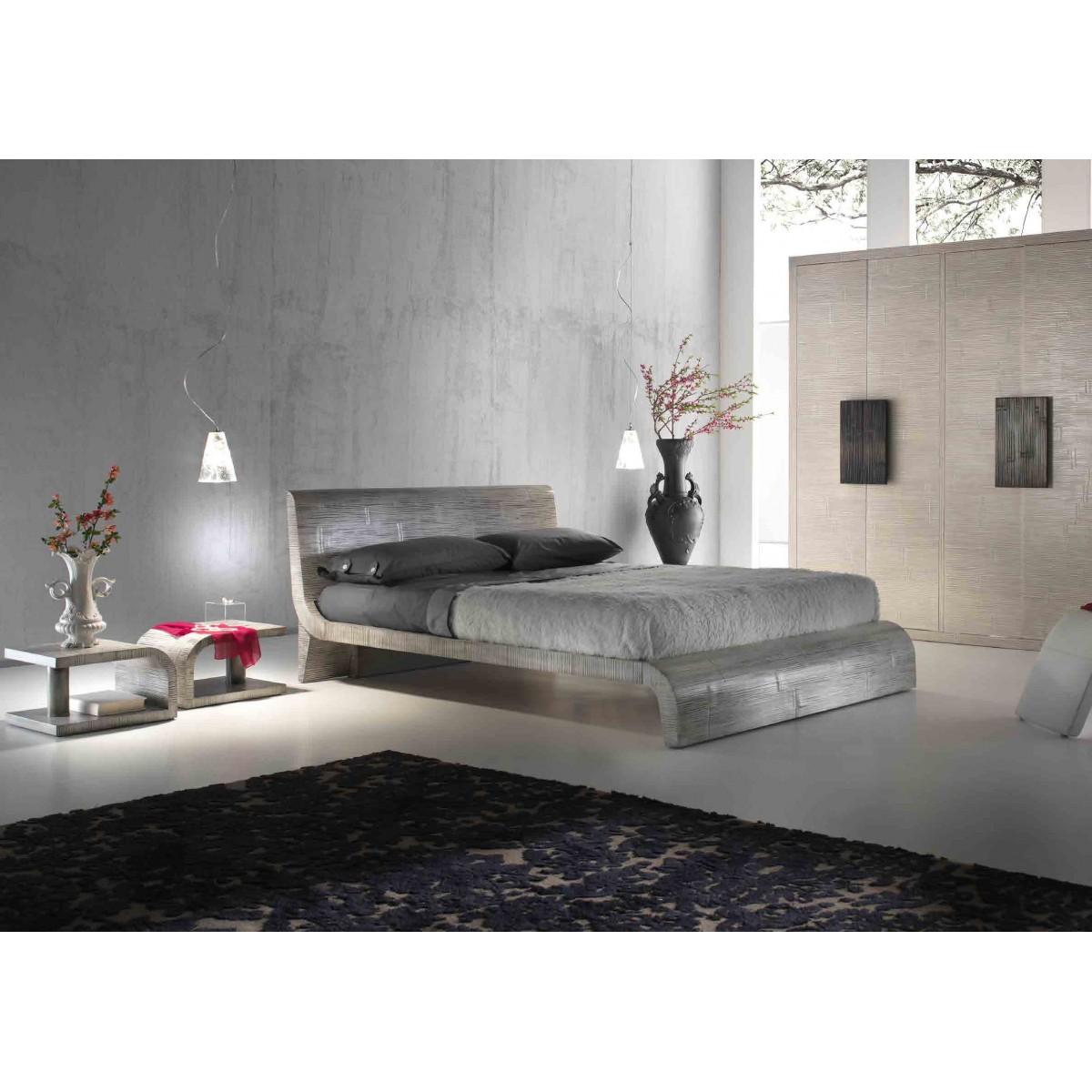 letto Wave colore gray, comodini Kristal colore Wave e armadio Light ante battenti decapato bianco