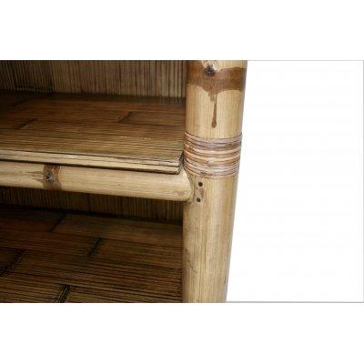 particolare della Libreria TSU tinta miele antico - notare i perni in bambù per bloccare l'incontro delle canne