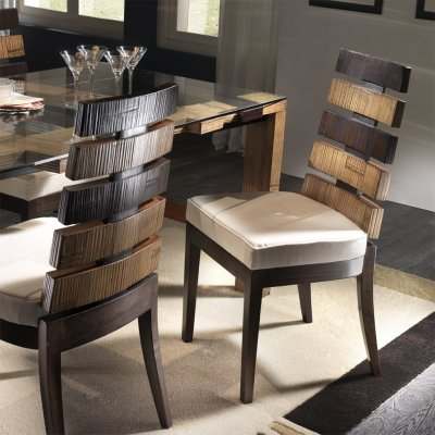 sedia Cross colore miele antico e nero
