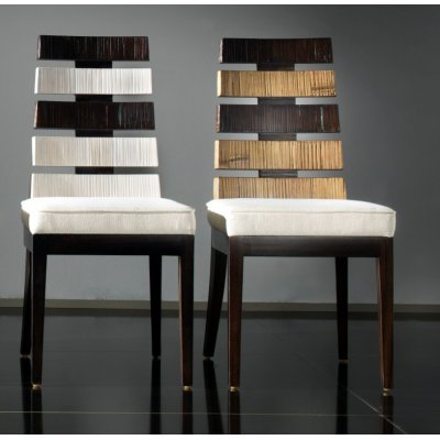 sedia Cross colore bianco e nero e sedia cross colore miele antico e nero