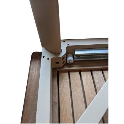 particolare del sistema di aggancio gamba al telaio tavolo Apollo