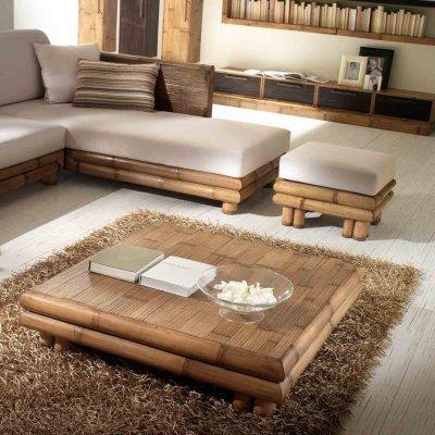 divano TSU angolo destro tinta miele antico, tavolino e poof TSU