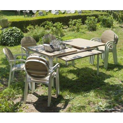 set Alloro formato da tavolo 140 colore bianco tortora e 6 sedie Palma