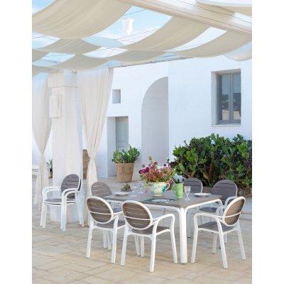 set Alloro formato da tavolo 140 colore bianco tortora - chiuso e 6 sedie Palma