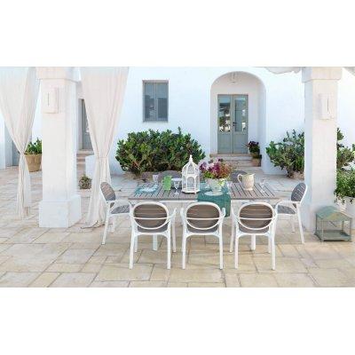 set Alloro formato da tavolo 140 colore bianco tortora - allungato e 6 sedie Palma
