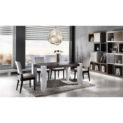 composizione tavolo e sedie Tesla bianco e nero