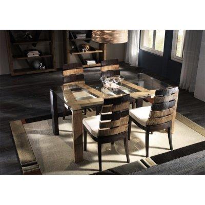 composizione tavolo, sedie e librerie serie Cross