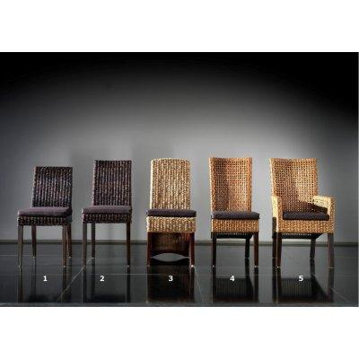 da sx verso dx: sedia Catalina,sedia Valencia sedia Tropical, sedia Cemara e sedia Cemara con braccioli