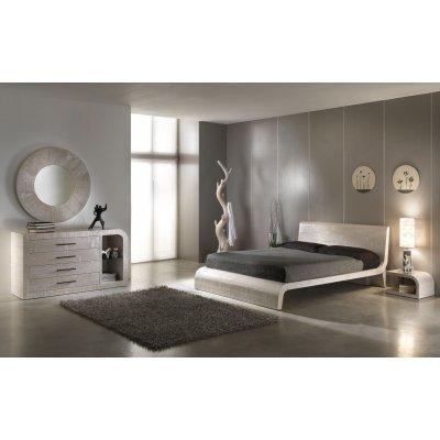 letto Wave colore decapato bianco con comò, comodini e specchio Kristal