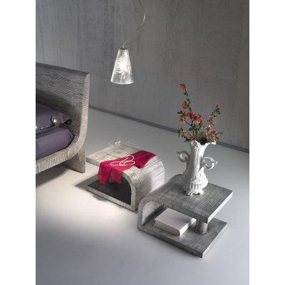 particolare letto Wave colore grey con comodini Kristal