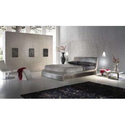 letto Wave colore gray, comodini Kristal colore grey e armadio Light ante battenti decapato bianco