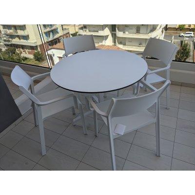 base Frasca Maxi colore bianco con piano laminato rotondo diam 100, sedia Trill colore bianco