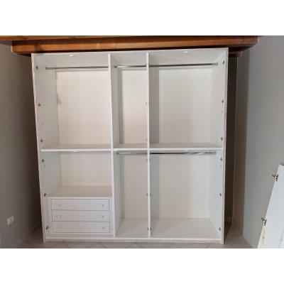 armadio Alum 5 + 5 ante battenti interno con cassettiera interna in laminato colore chiaro