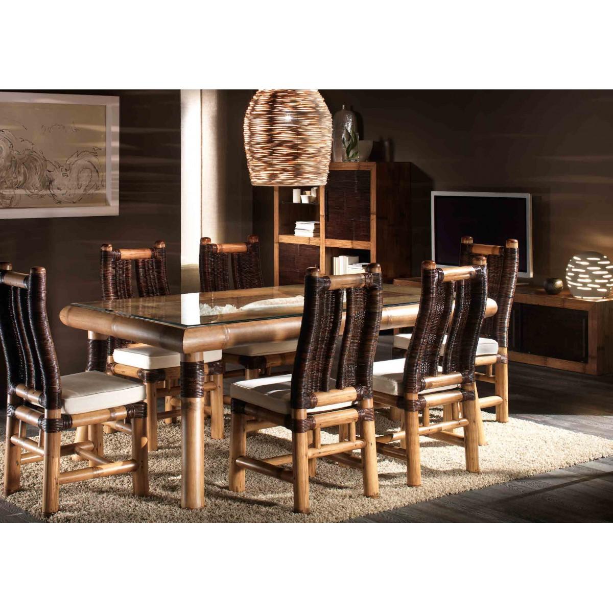 Tavolo in bambù con rifiniture in croco piano in vetro, sedie in bambù con intreccio in croco cuscino rimovibile
