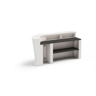 bancone Marvy bianco elemento lineare e ad angolo uniti con ripiano HPL150, ripiano HPL 43 e ripiano interno HPL 140