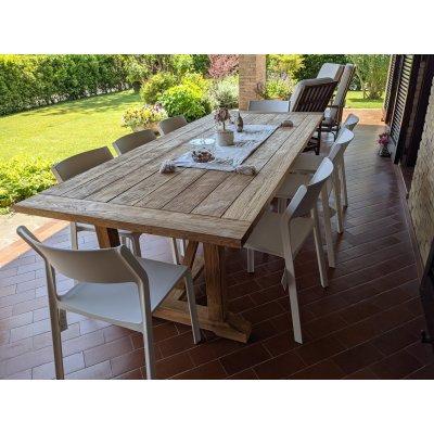Trill Bistrot colore bianco con tavolo in tek riciclato