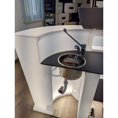 bancone Marvy colore bianco (BCO) con kit lavamani con ripiano preforato colore antracite (ANT)