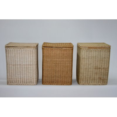 cesti Panama in midollino decapato bianco, tinta miele e naturale