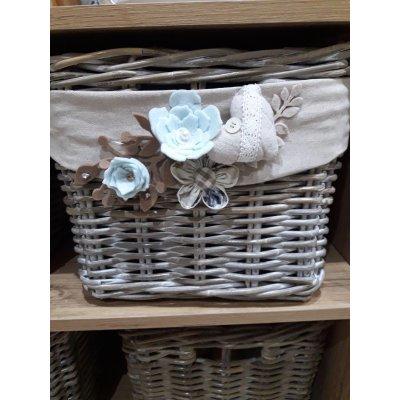 cesto porta legna modello Bianca piccolo in giunchino grigio decapato bianco personalizzato by Giulia